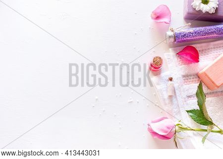 Spa Concept Natural Cosmetics On White Background With Place For Text Skin Care