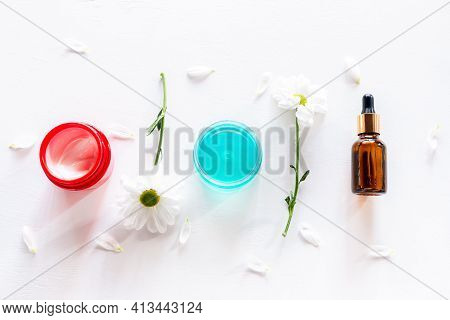 Home Made Cream, Oil And Perfume From Natural Ingredients On White Background