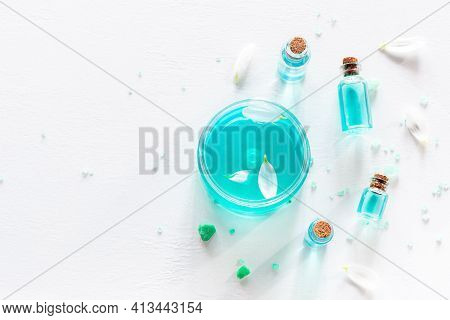 Samples Of Natural Cosmetics Cream Oil Perfume On White Background With Place For Text