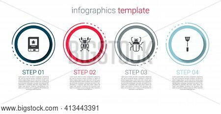 Set Book About Insect, Beetle Deer, Stink Bug And Fly Swatter. Business Infographic Template. Vector