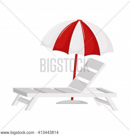 White Beach Sunbed And Sun Umbrella. A Symbol Of Summer. A Design Element For Vacation, Summer, Beac