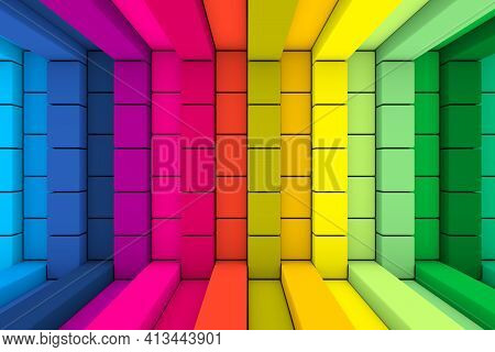 Multicolor Boxes Abstract Background 3d Render Illustration