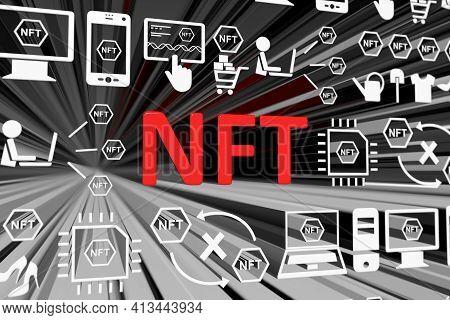 Nft Concept Blurred Background 3d Render Illustration