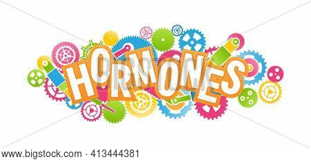 Vector Emblem Medical Concept, Relationship Of Hormones And Mechanism Of Action, Bright Colors Isola