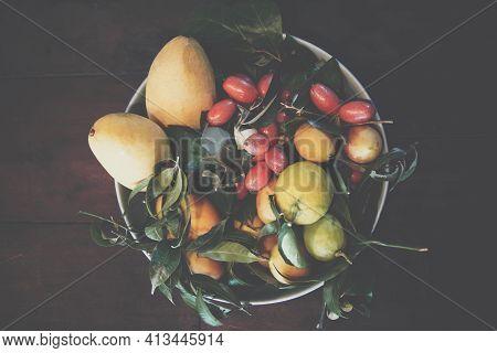 Tomatoes, Lemon, Indian Ivy-rue Zanthoxylum Limonella Alston In Kitchen