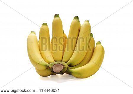 Thai Yellow Bananas Isolated On White Background