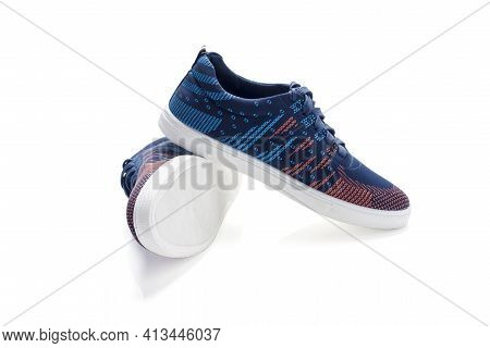 Blue Fashion Sneakers Isolated On White Background
