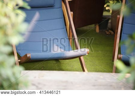 Blue Fabric Collapsible Chaise Lounge For Resting. Deck Chair Deckchair