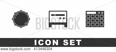 Set Dial Knob Level, Guitar Amplifier And Drum Machine Icon. Vector