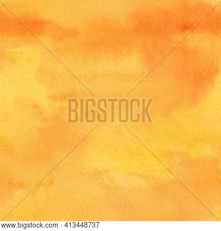 Seamless Pattern Watercolor Abstract Yellow Orange Background, Textured Paper. Hand Drawn Close-up P