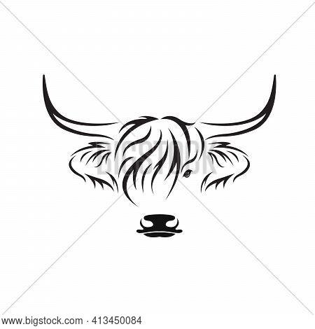 Vector Of Highland Cow Head Design On White Background. Farm Animal. Cows Logos Or Icons. Easy Edita