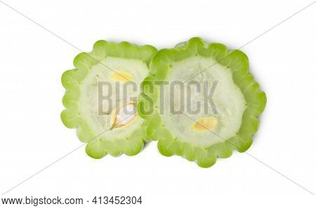 Isolated Bitter Gourd. Top View Fresh Bitter Melon With Slices On White Background. Clipping Path.