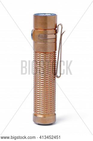 Isolated Flashlight. Copper Material Torch On White Background. With Clipping Path.