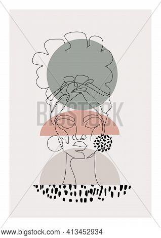 Black Woman Afro Portrait With Geometric Shape, Grunge Doodle Texture Background.