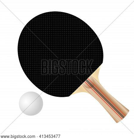 Black Ping Pong Paddle And Ball, Vector Illustration