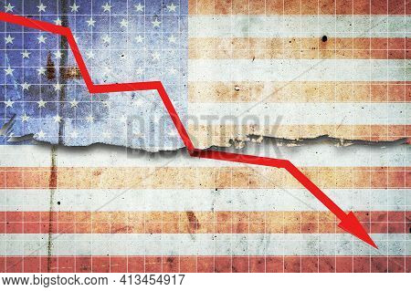 Fall Of The Us Economy. The Graph Of The Recession Of The Economy With A Red Arrow, On The Flag Of T