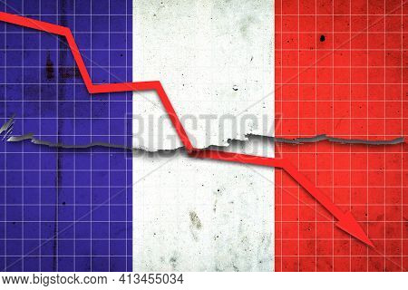 Fall Of The France Economy. Recession Graph With A Red Arrow On The France Flag. Economic Decline. D