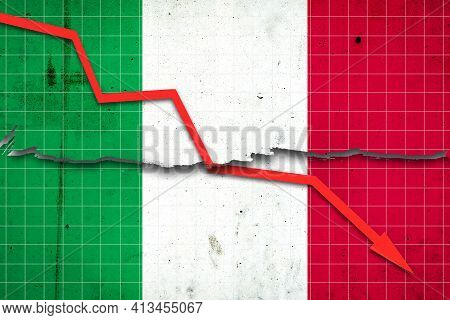 Fall Of The Italy Economy. Recession Graph With A Red Arrow On The Italy Flag. Economic Decline. Dec