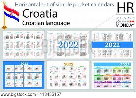 Croatian Horizontal Set Of Pocket Calendars For 2022 (two Thousand Twenty Two). Week Starts Monday.