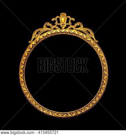 Gold vintage frame isolated on black background, including clipping path
