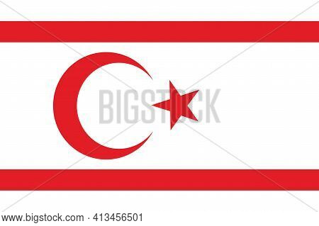 National Northern Cyprus Flag, Official Colors And Proportion Correctly. National Northern Cyprus Fl