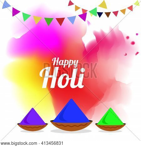 Abstract Colorful Happy Holi Illustration With Color Splash Explosion. Traditional Decorative Holi F