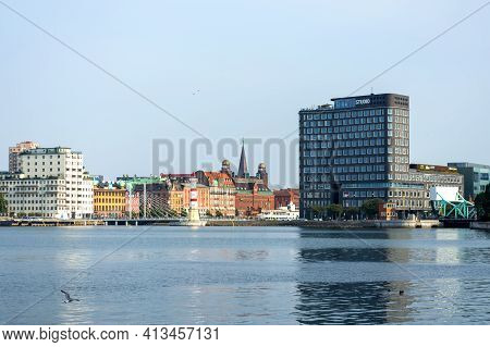 Malmo Sweden. July 29, 2019, Beautiful European Modern Architecture On The Shore Of The Sea Bay. Mal