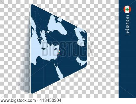 Lebanon Map And Flag On Transparent Background. Highlighted Lebanon On Blue Vector Map.