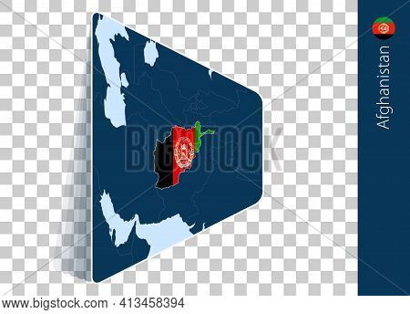 Afghanistan Map And Flag On Transparent Background. Highlighted Afghanistan On Blue Vector Map.