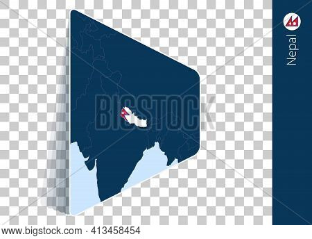 Nepal Map And Flag On Transparent Background. Highlighted Nepal On Blue Vector Map.