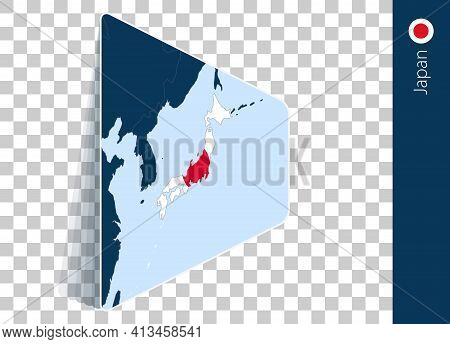 Japan Map And Flag On Transparent Background. Highlighted Japan On Blue Vector Map.