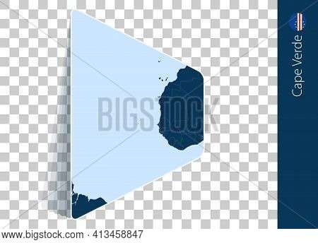 Cape Verde Map And Flag On Transparent Background. Highlighted Cape Verde On Blue Vector Map.