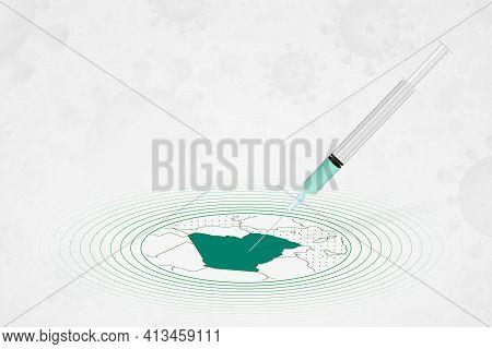 Algeria Vaccination Concept, Vaccine Injection In Map Of Algeria. Vaccine And Vaccination Against Co