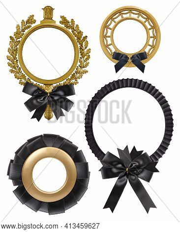 Set Of Golden Frames With Black Mourning Ribbon For Paintings, Mirrors Or Photo Isolated On White Ba
