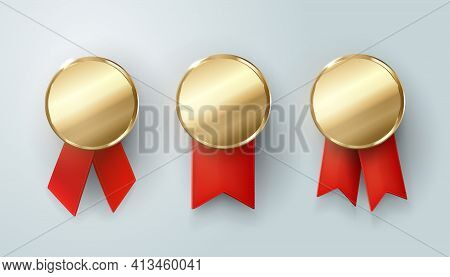 Set Of Gold Medals. Champion. Winner Trophy, Golden Medal , Sport , First, Best , Red Ribbon , Coin
