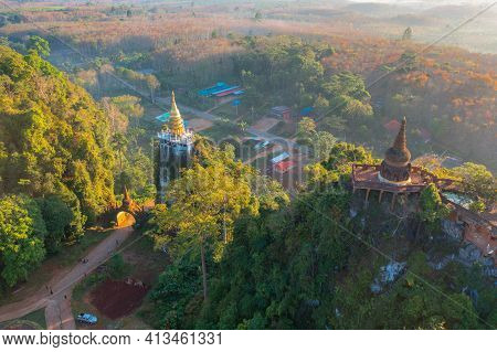 Aerial View Of Khao Na Nai Pagoda Stupa. Luang Dharma Temple Park With Green Mountain Hills And Fore