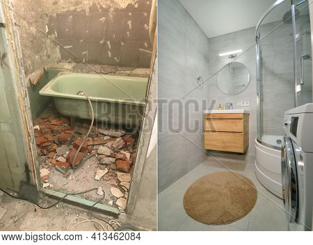 Apartment Renovation. A Bathroom Before And After Refurbishment Works.