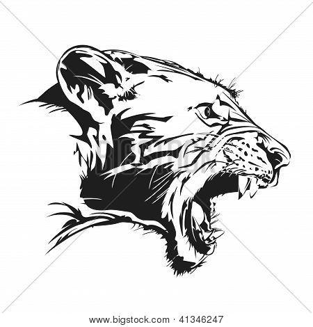 Vector illustration present tiger feral on EPS8. poster