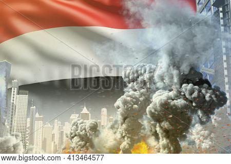 Big Smoke Pillar With Fire In Abstract City - Concept Of Industrial Blast Or Terroristic Act On Yeme