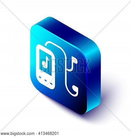 Isometric Music Player Icon Isolated On White Background. Portable Music Device. Blue Square Button.