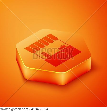 Isometric Street Stall With Awning And Wooden Rack Icon Isolated On Orange Background. Kiosk With Wo