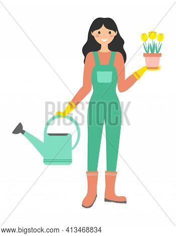 Gardening Concept, Woman Is Giving Water To Flowers, Girl With Watering Can And Pot Of Tulips, Sprin