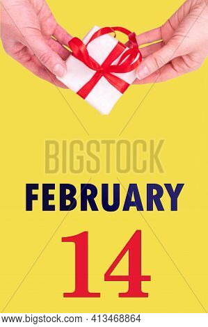 February 14th. Festive Vertical Calendar With Hands Holding White Gift Box With Red Ribbon And Calen