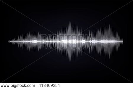 Sound Waves. Abstract Digital Signal. Black And White Equalizer Indicators. Voice Graph Meter. Audio