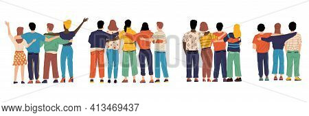 Friends From Behind. Hugging Happy Characters Back View, Friendship Illustration With Boys And Girls