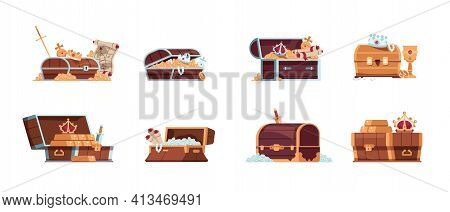 Treasure Chest. Cartoon Fantasy Pirate Wooden Boxes With Golden Coins, Jewelry Gems And Maps, Ancien