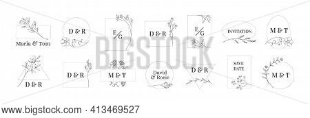 Herb Minimal Logo. Wedding Monograms With Newlyweds Names. Floral Contour Frames For Greeting And In