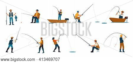 Fisherman. Cartoon People Fishing. Characters Catching Fish With Rods While Standing On Shore Of Lak