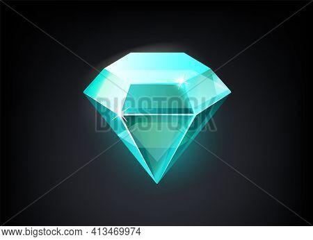 Diamond. Cartoon Shining Blue Precious Stone. Isolated Jewelry Mockup With Light Reflection On Edges