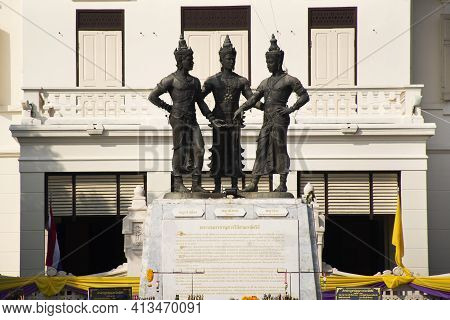 Three Kings Lanna Monument And Chiang Mai City Arts Cultural Centre For Thai People And Foreign Trav